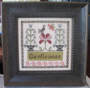 Abby Rose Designs - Lil Abbys - Gentleness-Abby Rose Designs, Lil Abbys, Gentleness, flowers, primitive bird, Cross Stitch Chart