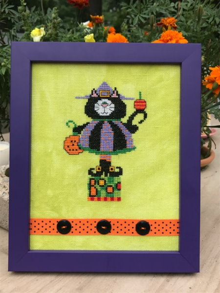 Amy Bruecken Designs - Halloween Scaredy Cat - Kitty Witch-Amy Bruecken Designs - Halloween Scaredy Cat - Kitty Witch, cats, Halloween, cross stitch