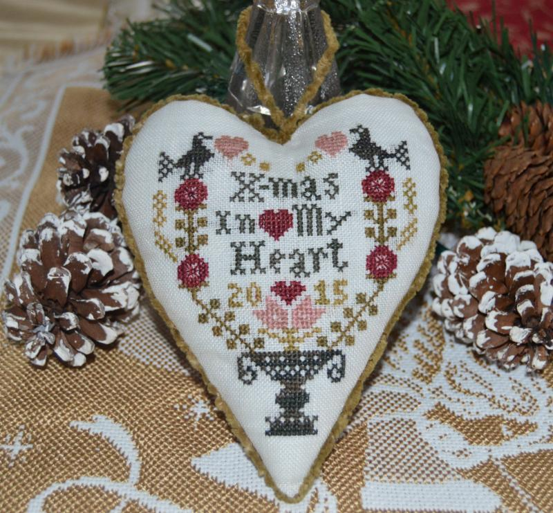 Abby Rose Designs - X-mas In My Heart - Limited Edition Kit-Abby Rose Designs- X-mas In My Heart - Limited Edition Kit, Christmas, heart, ornament, primitive, black bird,