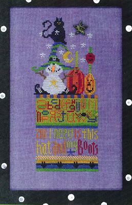 Amy Bruecken Designs - Winny - October Sampler - Cross Stitch Pattern-Amy Bruecken Designs, Winny, October Sampler, snow witch, pumpkin, halloween, black cat, sampler, Cross Stitch Pattern