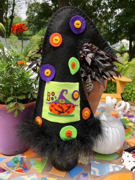 Amy Bruecken Designs - Witch Hat Wine Cover-Amy Bruecken Designs - Witch Hat Wine Cover, Halloween, Witch, wine, fun, cross stitch