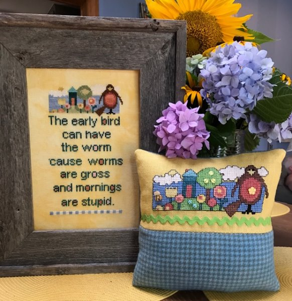 Amy Bruecken Designs - The Early Bird-Amy Bruecken Designs - The Early Bird, worms, early to rise, morning. cross stitch