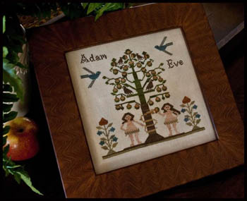 Little House Needleworks - Adam and Eve-Little House Needleworks - Adam and Eve, Genesis, Bible, God, Garden of Eden, disobedience, apple, snake, Cross Stitch Chart