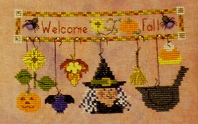A Kitty Kats Original - Welcome Fall - Cross Stitch Pattern-A Kitty Kats Original, Welcome Fall,halloween, pumpkin, candy corn,  Cross Stitch Pattern