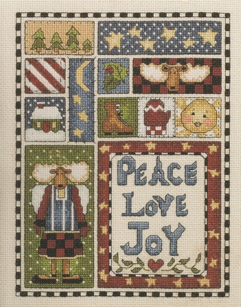 Alma Lynne - Peace, Love, Joy Sampler - Cross Stitch Kit-Alma Lynne,Peace, Love, Joy, Sampler, Cross,Stitch, Kit, Christmas, moose, trees, stars, sun, boot, holly, house, candy cane,mittens,
