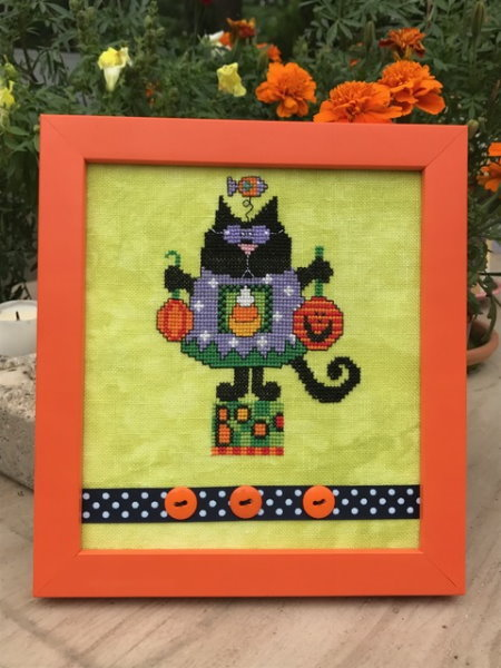 Amy Bruecken Designs - Halloween Scaredy Cat - Black Cat-Amy Bruecken Designs - Halloween Scaredy Cat - Black CatHalloween, cats, witch, trick or treat, cross stitch