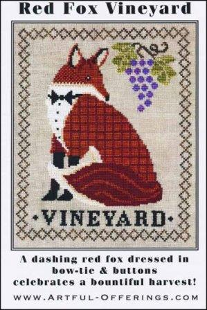 Artful Offerings - Red Fox Vineyard-Artful Offerings - Red Fox Vineyard, fox, grapes, vineyard, cross stitch