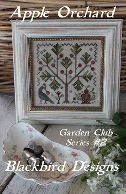 Blackbird Designs - Garden Club Series Part 02 - Apple Orchard-Blackbird Designs - Garden Club Series Part 2 - Apple Orchard, apple tree, crow, primitive, cross stitch