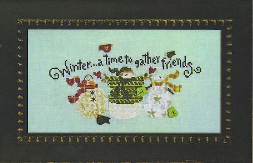 Just Another Button Company - Art To Heart - Winter Friends - Cross Stitch Pattern with Buttons