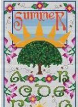Artists Alley - Summer Sampler - Cross Stitch Pattern-Artists Alley, Summer Sampler, summer, sun, sampler, trees, flowers,  Cross Stitch Pattern