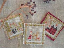 Barbara Ana Designs - Christmas Ornament Trio-Barbara Ana Designs - Christmas Ornament Trio, Santa Claus, squirrel, snow, home, Christmas, cross stitch