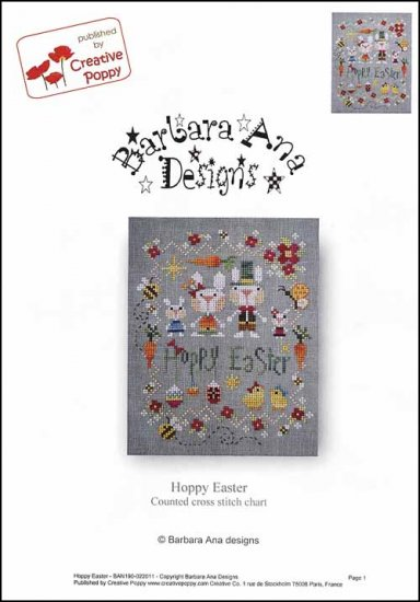 Barbara Ana Designs - Hoppy Easter-Barbara Ana Designs - Hoppy Easter, bunny, family, Easter Eggs, chicks, bees, cross stitch