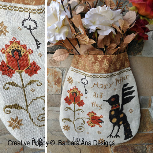 Barbara Ana Designs - Mary Pepper Pouch-Barbara Ana Designs - Mary Pepper Pouch, imaginary bird, ornamental flower, cross stitch,