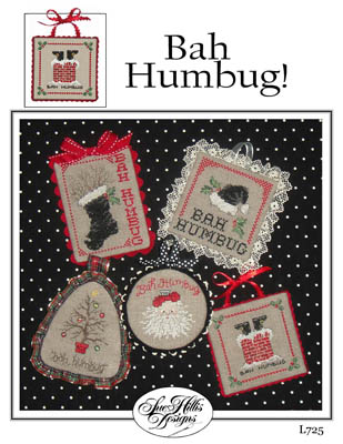 Sue Hillis Designs - Bah Humbug - Cross Stitch Patterns-Sue Hillis Designs, Bah Humbug, Christmas ornaments, snowman, candy cane, Christmas tree lights, Christmas tree, gingerbread man, Cross Stitch Patterns