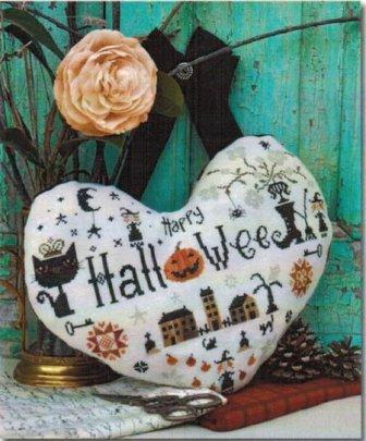Barbara Ana Designs - Halloween Heart-Barbara Ana Designs, Halloween Heart, black cat, pumpkin, witchs boot, moon, ornament, Cross Stitch Pattern