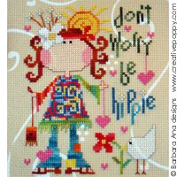 Barbara Ana Designs - Be Hippie-Barbara Ana Designs,Be Hippie, cool, flower power, love, peace, flowers, 60s, psychedelic, - Cross Stitch Pattern