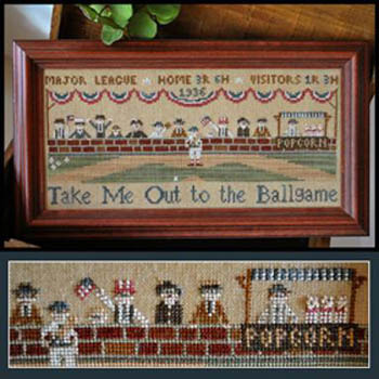 Little House Needleworks - Take Me Out to the Ballgame-Little House Needleworks, Take Me Out to the Ballgame, baseball, baseball diamond, pitcher, popcorn, grand stands, summer, baseball bat, umpire, strike, Cross Stitch Pattern