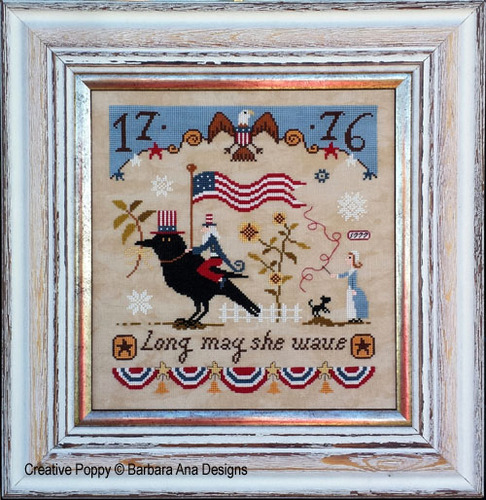Barbara Ana Designs - Long May She Wave-Barbara Ana Designs, Long May She Wave, Beach Cottage Stitchers, patriotic, 4th of July, American, USA, American Flag,  Uncle Sam, Betsy Ross,  Cross Stitch Pattern