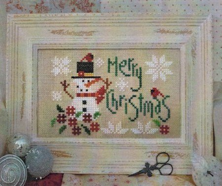 Barbara Ana Designs - Merry Christmas-Barbara Ana Designs, Merry Christmas, snowman, christmas, flowers, snowflakes, carrot nose, cardinal, black hat, Cross Stitch Pattern