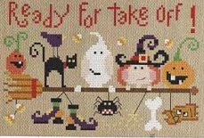 Barbara Ana Designs - Ready for Take Off-Barbara Ana Designs, Ready for Take Off, halloween, ghost, black cat, pumpkin, bones,trick or treat, - Cross Stitch Pattern