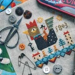 Barbara Ana Designs - Rooster Ride-Barbara Ana Designs - Rooster Ride, rooster, key, flying, birds, town, croww stitch