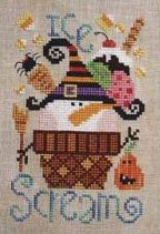 Barbara Ana Designs - Ice Scream-Barbara Ana Designs,Ice Scream, ice cream cone, halloween, trick or treat, cherry on top, spider, pumpkin, candy corn, broom, candy, dessert, Cross Stitch Pattern