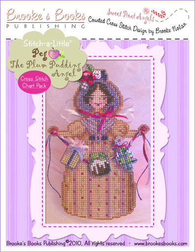Brooke's Books - Sweet Treat Angels - PEG The Plum Pudding Angel Cross Stitch Chart Pack-Brookes Books Sweet, Treat, Angels, PEG, The, Plum, Pudding, Angel, Cross, Stitch, Chart, Pack,
