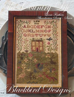 Blackbird Designs - Loose Feathers - Abecedarian Series - Part 07 of 12 -The Country Life-Blackbird Designs,Loose Feathers, Abecedarian Series, Part 7 of 12, The Country Life, house, flowers,Cross Stitch Pattern