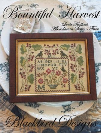 Blackbird Designs - Loose Feathers - Abecedarian Series - Part 04 of 12 - Bountiful Harvest-Blackbird Designs, Loose Feathers, Abecedarian Series, Part 4 of 12,Bountiful Harvest,sampler, birds, roses, flowers,  cross stitch pattern,
