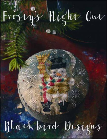 Blackbird Designs - Frosty's Night Out-Blackbird Designs - Frostys Night Out, snowman, winter, snow, CROSS STITCH