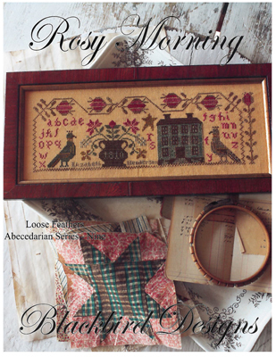 Blackbird Designs - Loose Feathers - Abecedarian Series - Part 09 of 12 - Rosy Morning-Blackbird Designs, Loose Feathers,  Abecedarian Series, historic samplers, Part 9 of 12, Rosy Morning, Cross Stitch Pattern