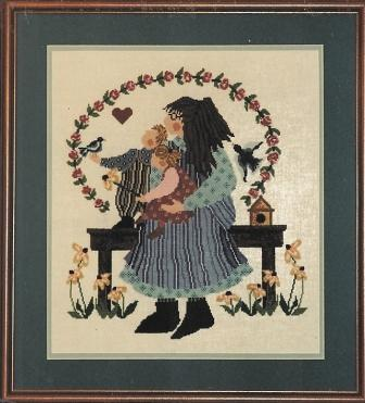 Barbara Bourgeau.Richards - The Bird Watchers - Cross Stitch Pattern-Barbara Bourgeau.Richards, The Bird Watchers, children, birds, bird house, flowers, garden bench, Cross Stitch Pattern