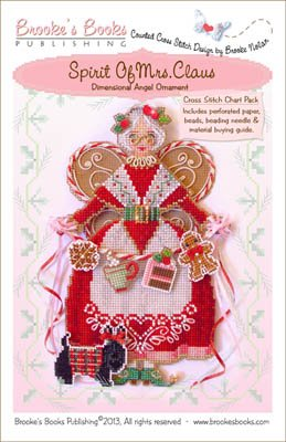 Brooke's Books - Spirit of Mrs. Claus - Cross Stitch Chart Pack-Brookes Books, Spirit of Mrs. Claus, Santa Claus, Christmas, holiday baking, scotty dog, Christmas angel, Cross Stitch Chart Pack