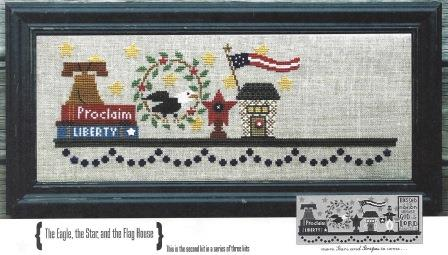 Bent Creek - Patriotic Mantle - Part 2 of 3 - Cross Stitch Kit-Bent Creek - Patriotic Mantle - Part 2 of 3 - Cross Stitch Kit, USA, Eagle, star, liberty bell