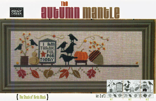 Bent Creek - The Autumn Mantle - Part 2 of 3 - The Stack of Black Birds - Cross Stitch Kit-Bent Creek, The Autumn Mantle,  Pumpkin, Acorn and Fall Leaves, Part 2 of 3,The Stack of Black Birds, Cross Stitch Kit