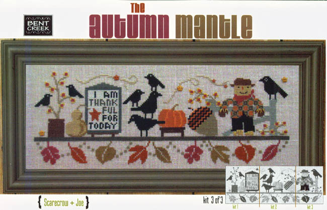 Bent Creek - The Autumn Mantle - Part 3 of 3 - Scarecrow + Joe - Cross Stitch Kit-Bent Creek, The Autumn Mantle, Part 3 of 3, Scarecrow + Joe, fall, blackbirds, scarecrow, fence, fall leaves, Cross Stitch Kit