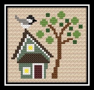 Bent Creek - Black Capped Chickadee Kit -  2015 Nashville Show Exclusive Design-Bent Creek, Black Capped Chickadee Kit,  2015 Nashville Show Exclusive Design, Cross Stitch Kit,