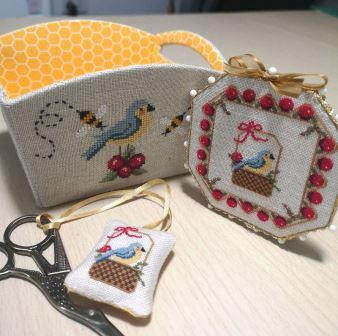 Blackberry Rabbit Designs - Bluebirds, Berries and Bees-Blackberry Rabbit Designs - Bluebirds, Berries and Bees, cross stitch tray, birds, plants, insects, bees,