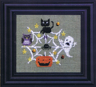 Bent Creek - Find Your Way To Halloween - Cross Stitch Pattern-Bent Creek, Find Your Way To Halloween, black cat, owl, ghost, spider, pumpkin, spider web, Cross Stitch Pattern