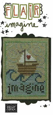 Bent Creek - Flair - Imagine - Cross Stitch Pattern-Bent Creek, Flair, Imagine, sailboat, ocean, waves, sea, sailing, dreaming, Cross Stitch Pattern