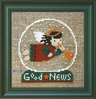 Bent Creek - Good News - Snow Globe - Cross Stitch Kit-Bent Creek, Good News, Snow Globe, Luke 29-12, Angel, Jesus, birth of Jesus, Christmas, Cross Stitch Pattern