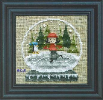 Bent Creek - Ice Skating Globe - Cross Stitch Kit-Bent Creek - Ice Skating Globe. girl, ice skating, winter, snow, Cross Stitch Kit