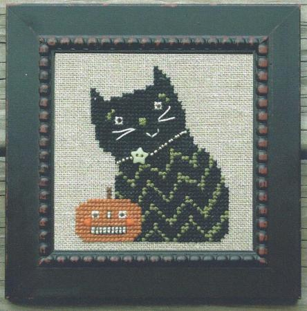 Bent Creek - Lil Jack + The Kitty - Cross Stitch Kit-Bent Creek,  Lil Jack + The Kitty, pumpkin, black cat, star button, kitty, Halloween, fall, Cross Stitch Kit
