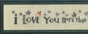 Bent Creek - I Love You more than all the Stars - Cross Stitch Pattern-Bent Creek, I Love You more than all the Stars, In the sky, Love, romance, hearts, Cross Stitch Pattern