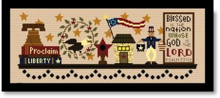 Bent Creek - Patriotic Mantle - Part 1 of 3 - Cross Stitch Kit-Bent Creek, Patriotic Mantle, Part 1 of 3, Psalm 3312, liberty, Amoerican, Cross Stitch Kit