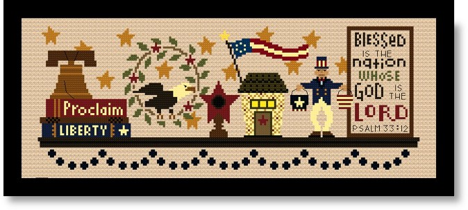Bent Creek - Patriotic Mantle - Part 3 of 3-Bent Creek - Patriotic Mantle - Part 3 USA, Americana, cross stitch