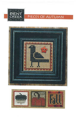 Bent Creek - Pieces of Autumn-Bent Creek, Pieces of Autumn, crow, acorn, pumpkin, fall, leaves, Cross Stitch Pattern