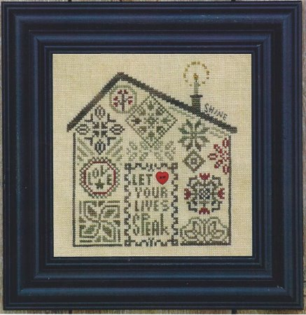 Bent Creek - Quaker Home - Let Your Lives Speak - Cross Stitch Pattern-Bent Creek, Quaker Home, Let Your Lives Speak, shine, light, flowers, Cross Stitch Pattern