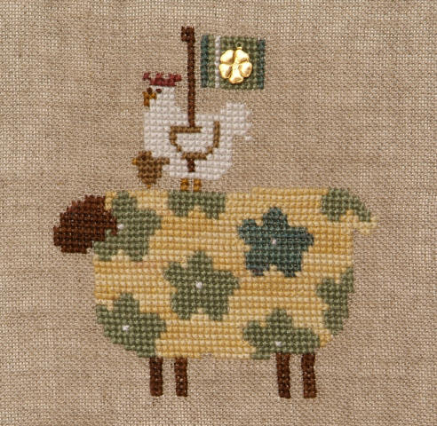Bent Creek - Spring Ewe Kit-Bent Creek - Spring Ewe Kit, sheep, chicken, St. Patricks Day, four leaf clover, cross stitch