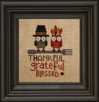 Bent Creek - The Thankful Owls-Bent Creek - The Thankful Owls, Thanksgiving, owls, fork, blessed, grateful, pilgrim, indian, cross stitch